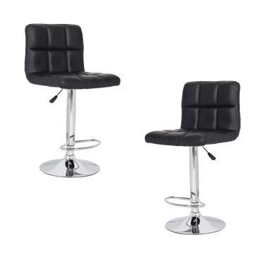 2x Black PU Leather Full Grid Kitchen Bar Stools