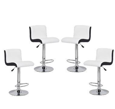4x Black & White PU Leather Kitchen Bar Stools Modern Design