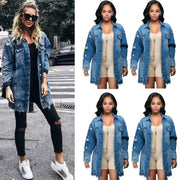 Women's Basic Denim Jacket Long Sleeve - DiS-Lyne