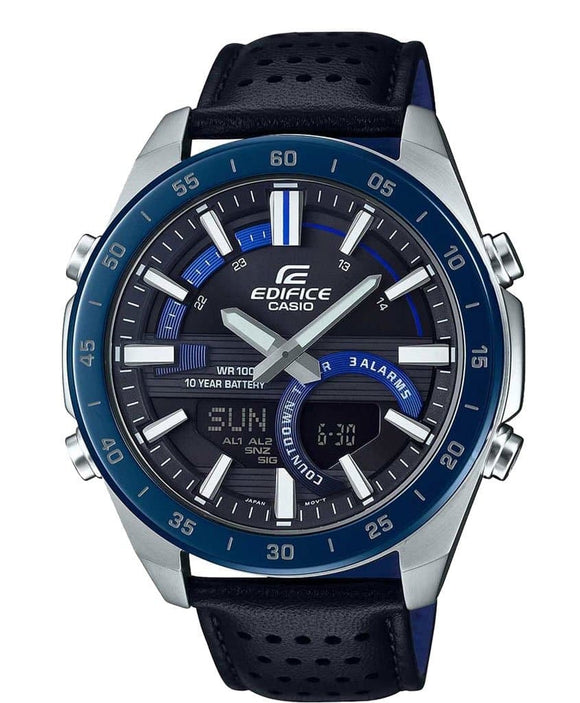 casio edifice black leather strap