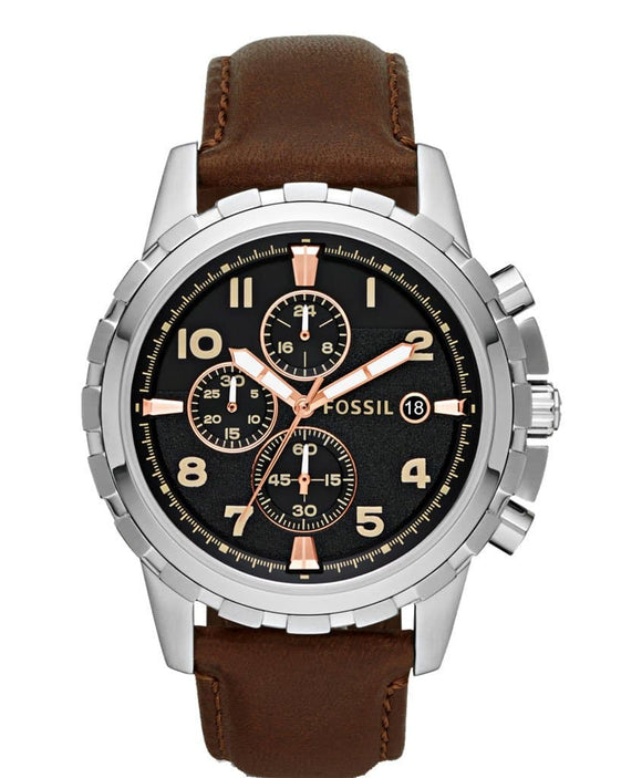 black dial chronograph watch
