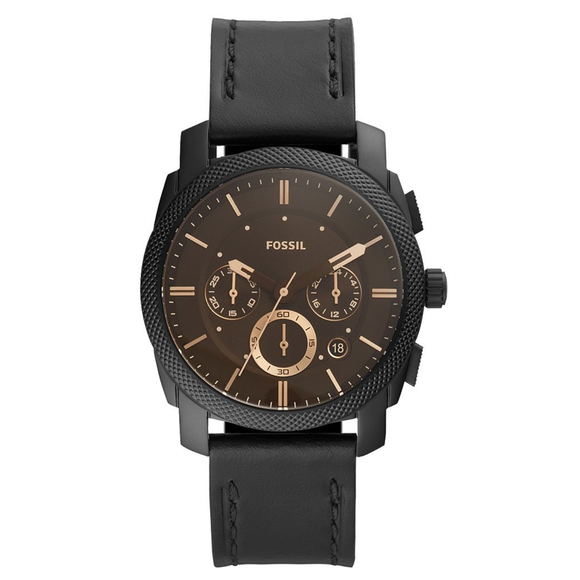 fossil machine chronograph black