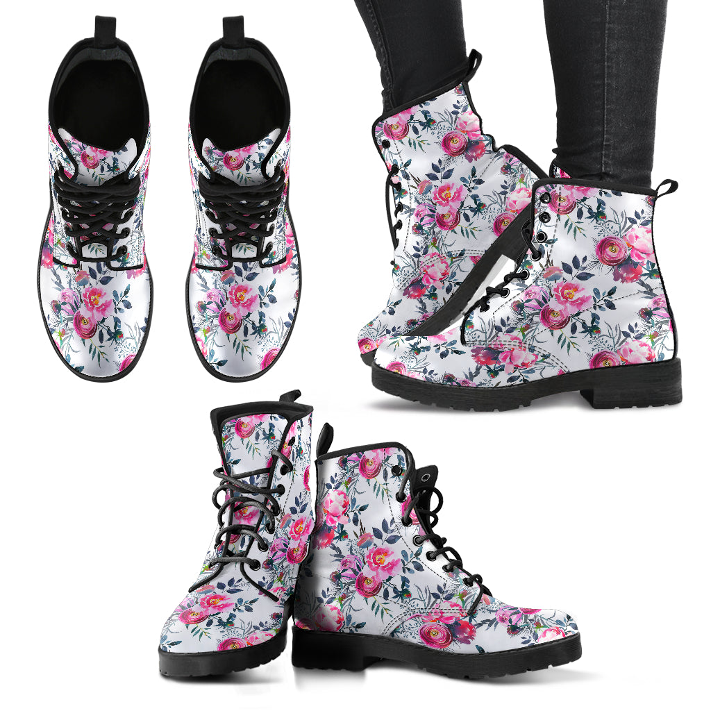 Unisex Floral Grey Roses & Peonies - Leather Boots for Women