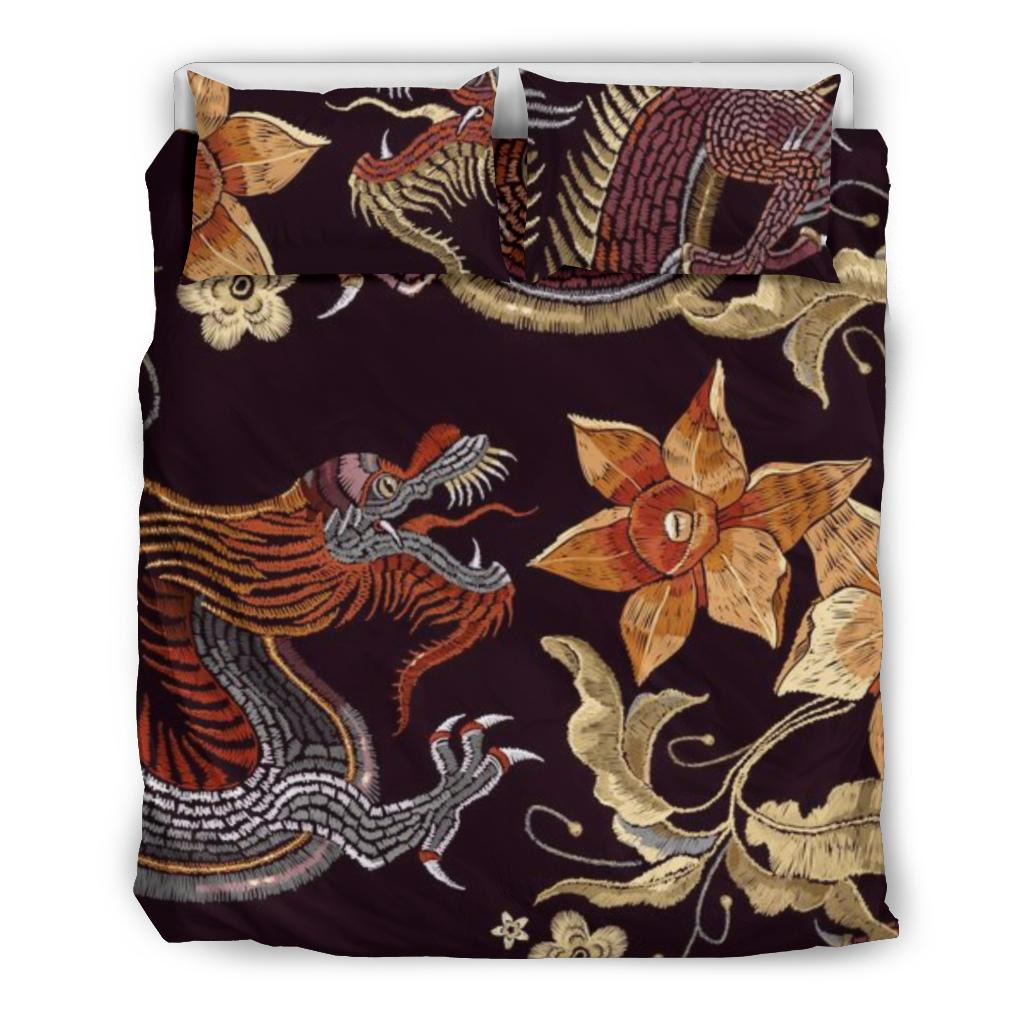 Japanese dragons and flowers Bedding Set