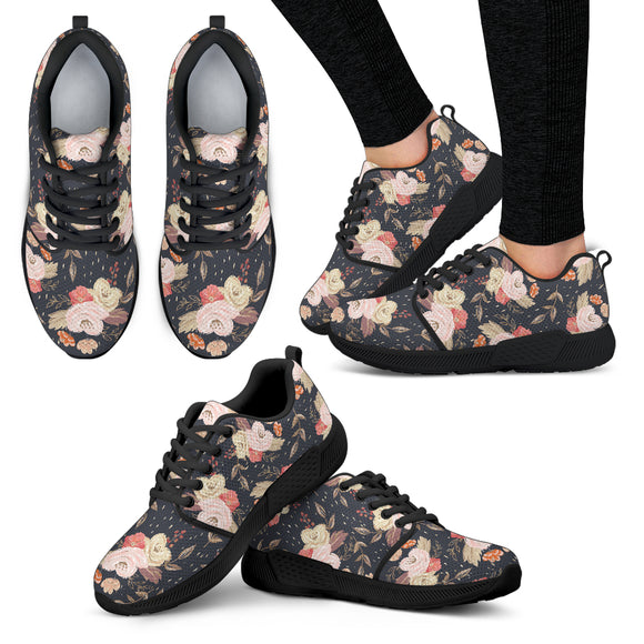 Autumn Fall Floral - Women's Athletic Sneakers (Black)