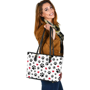 Paw love leather tote bag (s)