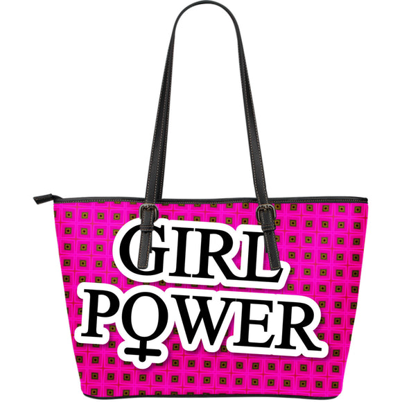 Large leather tote bag girl power