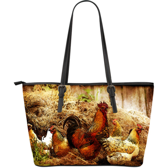 Cock and Hens Large Leather Tote Bag