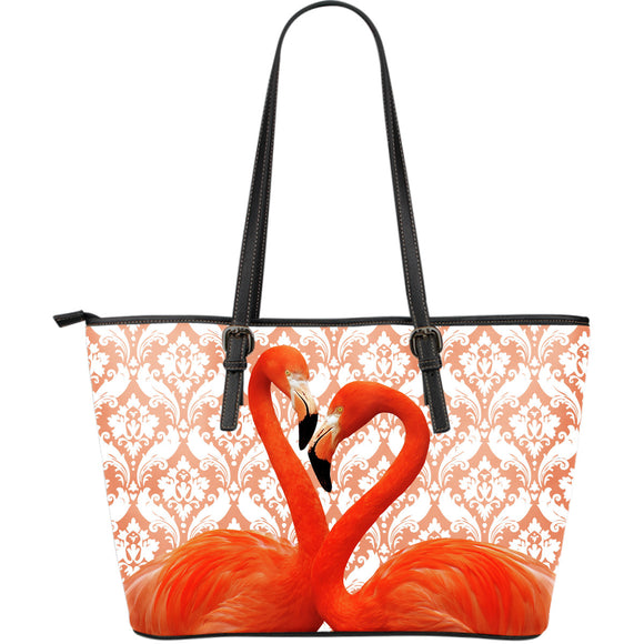Flamingo Flocking Large Leather Tote Bag