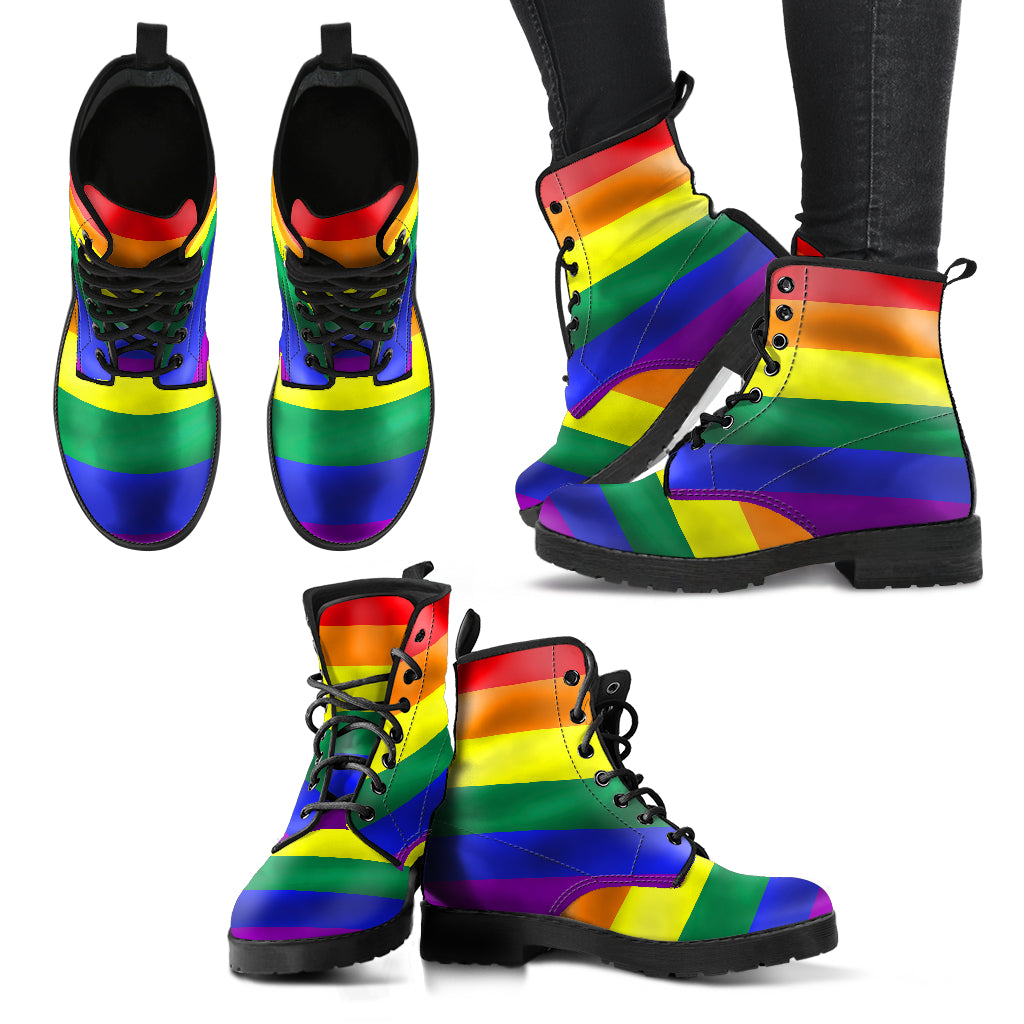 Unisex Rainbow Pride Faux Leather Boots