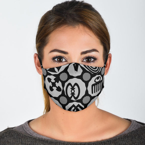 Gray Adinkra Face Mask