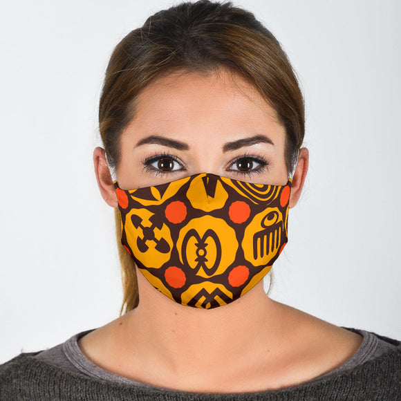 Colored Adinkra Print Face Mask