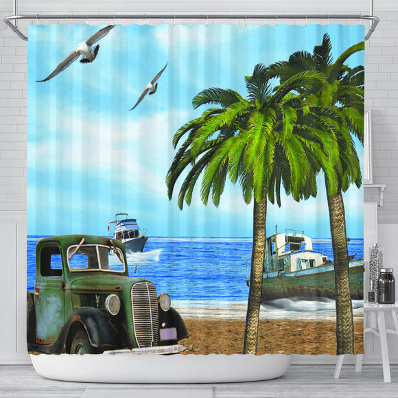Truck and Palm Shower Curtain