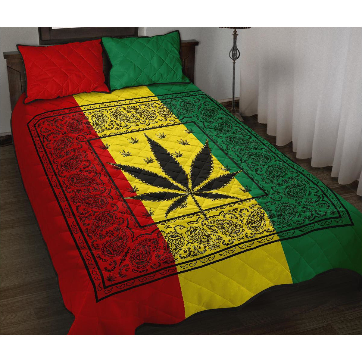 Rasta 420 Bandana Bed Quilts with Shams