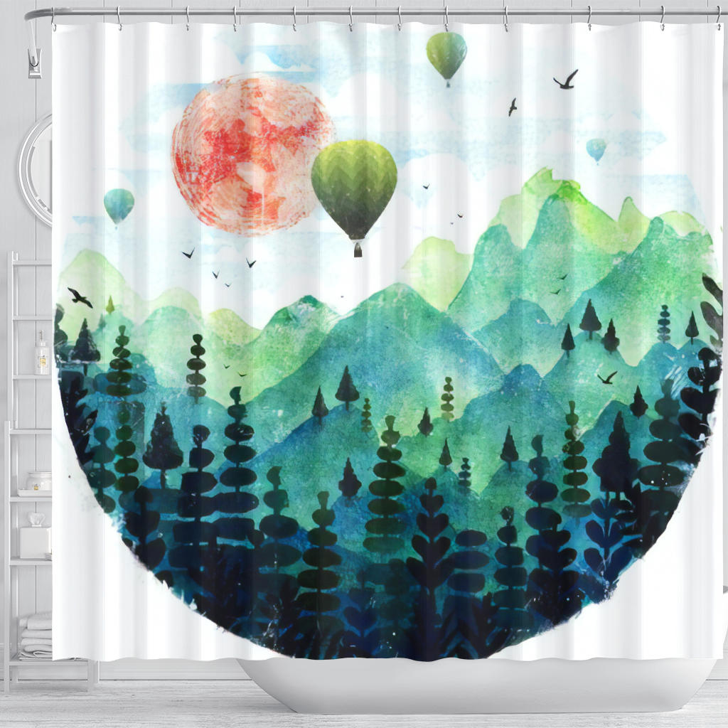 Hot Air Balloons over the Valley Shower Curtain