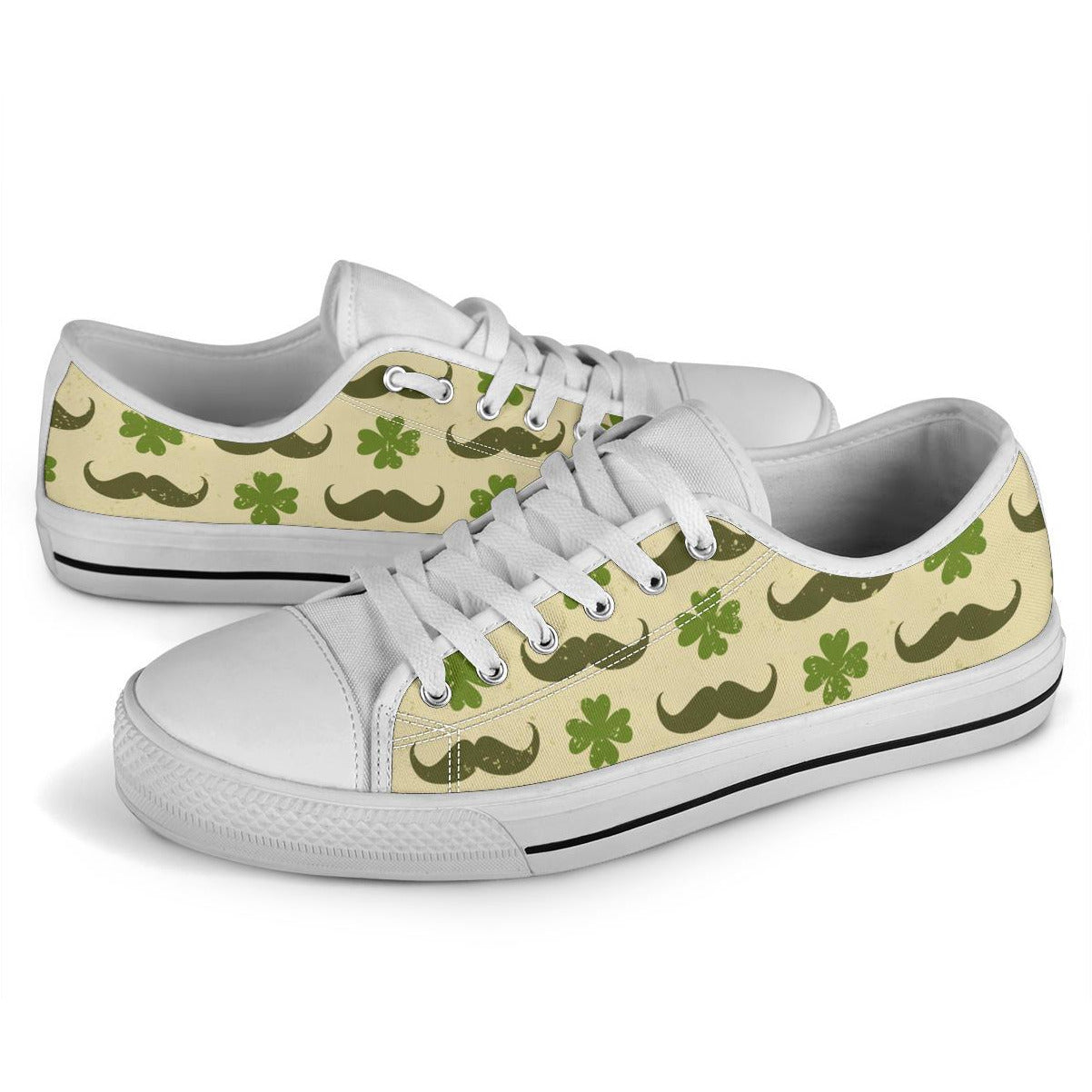 Unisex Clovers and Mustache - Low top canvas shoe