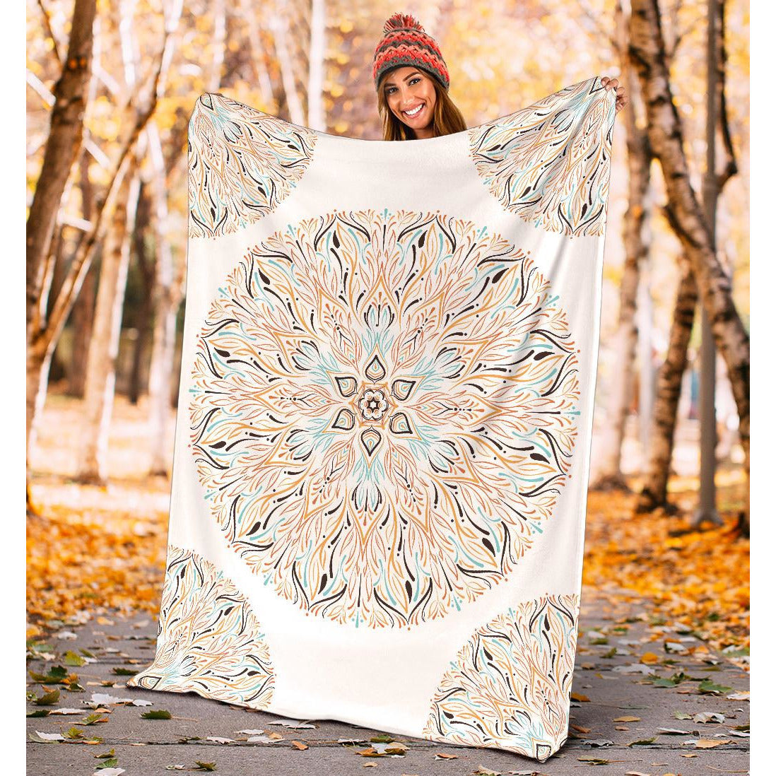 Mandala P1 (White) - Throw Blankets