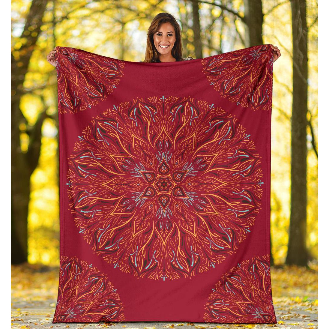 Mandala P1 (Jester Red) - Throw Blankets