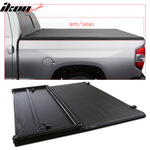Fits 14-19 Toyota Tundra 8ft/96in Bed Black Soft Tri-fold Tonneau Cove