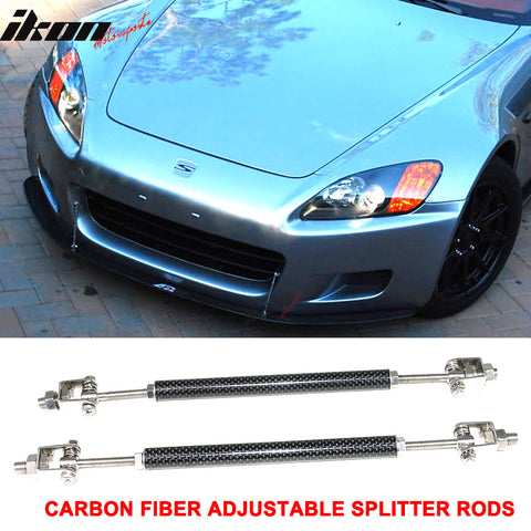 Carbon Fiber Adjustable Front Bumper Lip Spoiler Splitter Strut Rods 8