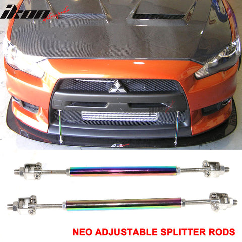 NEO Adjustable Front Bumper Lip Spoiler Splitter Strut Rods Support 8-