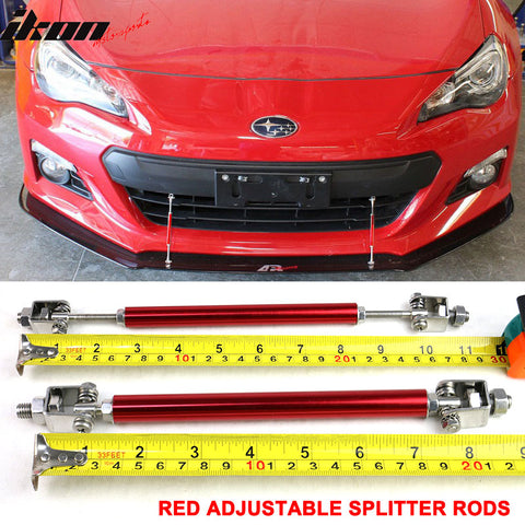 Red Adjustable Front Bumper Lip Spoiler Splitter Strut Rods Support 8-