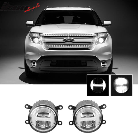 Fits 11-15 Ford Explorer 09-15 Focus Clear Led Replacement Fog Lights