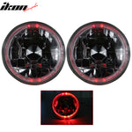 5in Round Headlights Conversion Angel Eye Crystal Clear Red Halo LED