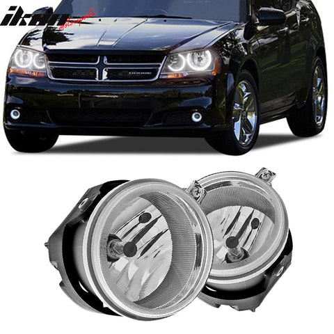 Fits 2005-2010 Dodge Caravan Avenger Caliber LED Halo Clear Fog Lights