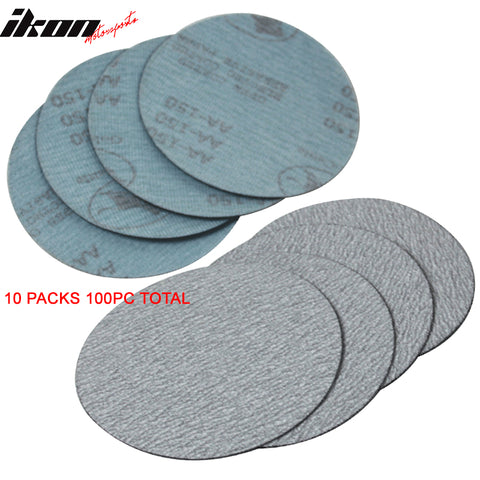 100PC 5Inch 127mm 150 Grit Auto Sanding Disc No Hole Sandpaper Sheets