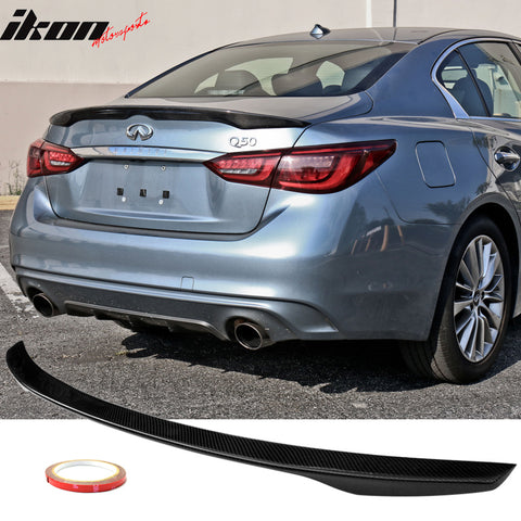 Trunk Spoiler Compatible With 2014-2020 Infiniti Q50 | JDM Style Black