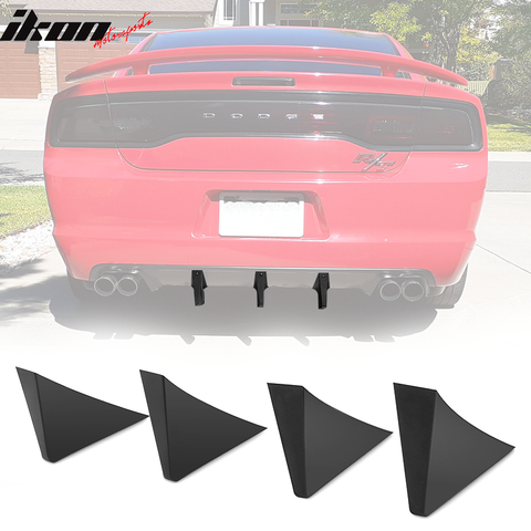 4PCS Rear Bumper Lip Lower Diffuser Shark Fins Black ABS