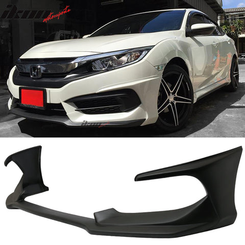 Fits 16-18 Honda Civic Coupe Sedan AVS Style Front Bumper Lip Spoiler