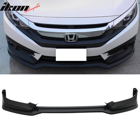Fits 16-18 Honda Civic Sedan Coupe Gen MUG Front Bumper Lip Black PP