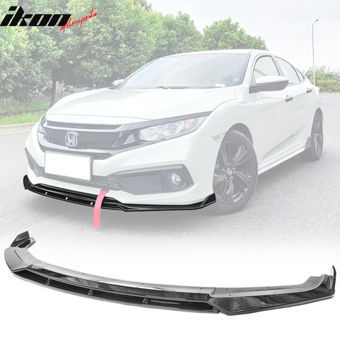 Fits 19-20 Honda Civic IKON V3 Style Front Bumper Lip 2PC - Gloss Blac