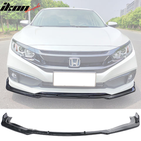 Fits 19-20 Honda Civic IKON V4 Style Front Bumper Lip 1PC - Carbon Fib