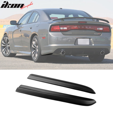 Fits 12-14 Dodge Charger Rear Bumper Lip Aprons Matte Black Pair - PP