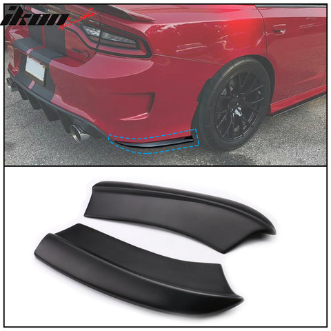 Fits 15-20 Dodge Charger Rear Bumper Lip Aprons Matte Black Pair - PP