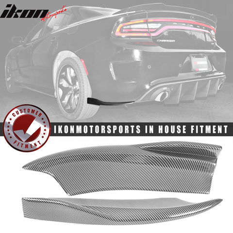 Fits 15-20 Dodge Charger V2 Style Rear Bumper Lip Side Apron Carbon Fi
