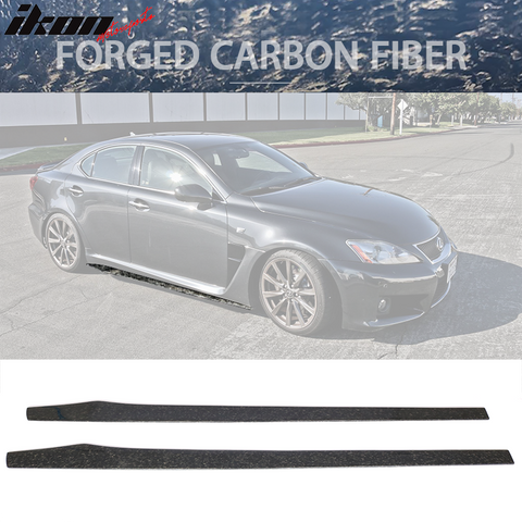 "Universal 77.5"" Side Skirts Extension Flat Bottom Line Lip - Forged Ca"