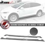Fits 16-20 Tesla Model X MX Style Side Skirts Extensions - Carbon Fibe