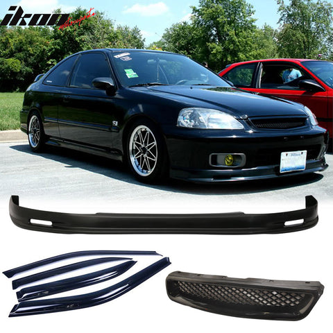 Fits Civic 99-00 Mugen Front Bumper Lip Front Grille Sun Window Visor