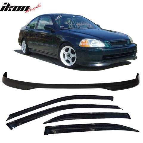 Fits Honda Civic 96-98 4Dr T-R PP Front Bumper Lip + Sun Window Visor