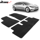Fits 17-19 Tesla Model 3 Black Nylon Floor Mats Front and Second Row