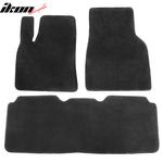 Fits 12-19 Tesla Model S Black Nylon Floor Mats Front and Second Row