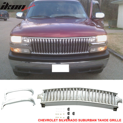 Fits 99-02 Silverado 00-06 Suburban Tahoe Vertical GrilleChrome