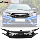 Fits 16-18 Civic 10th Gen IKON Gloss Front Hood Mesh Grille Eyebrows