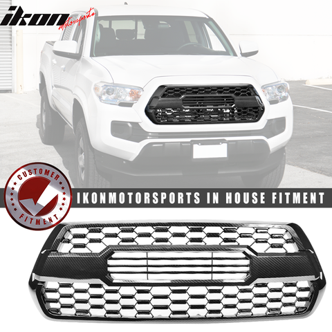 Fits 16-19 Toyota Tacoma Front Hood Bumper Grille Meshinsert Carbon
