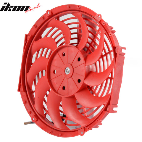 12in Pull Push Electric Radiator Engine Cooling Fan W/ Mount Kit Red