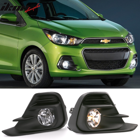 Fits 16-18 Chevrolet Spark Foglights Kit Black Housing Clear Lens